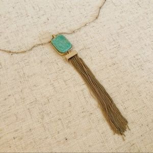 LOFT Turquoise Stone and Tassel Necklace